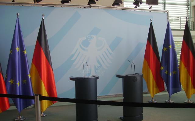 Berlin EU chancellor podium
