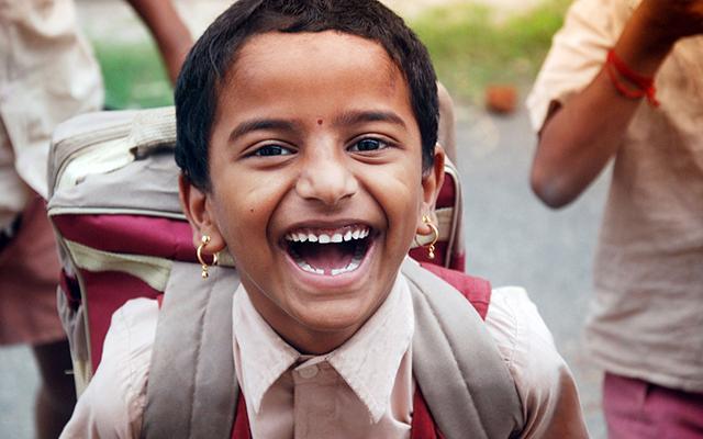 laughing schoolchild
