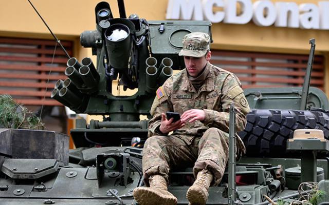 Tank driver texting